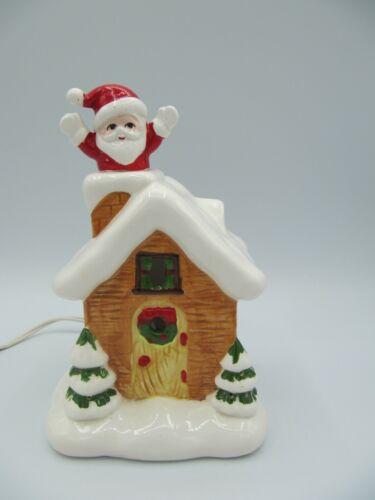 Vintage Lefton Ceremic Lighted Christmas House Waving Santa #3615