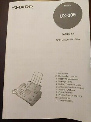 Sharp Facsimile Operation Manual Model Ux-305 Great Condition For The Year.