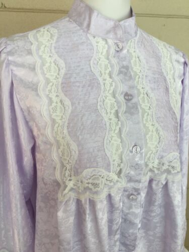 Vintage Repose White Lace Long Night Gown Med Lilac Shift Cottage Core Romantic