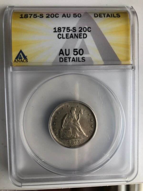 Type Coin 1875-S Seated Liberty Silver 20 Twenty Cent Piece Lovely AU Graded