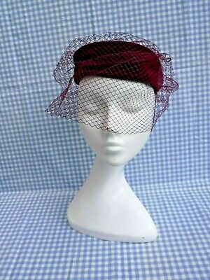 VINTAGE LADIES HAT CLARET VELVET WITH VEIL <> LOT 2