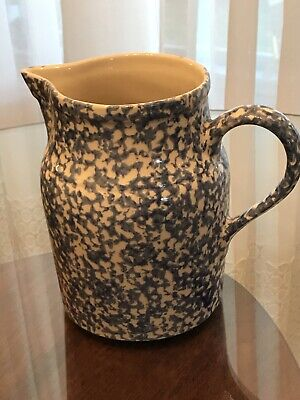 "Workshops of Gerald E. Henn Spongeware 8"" Pitcher Blue Spongeware Roseville Ohio"