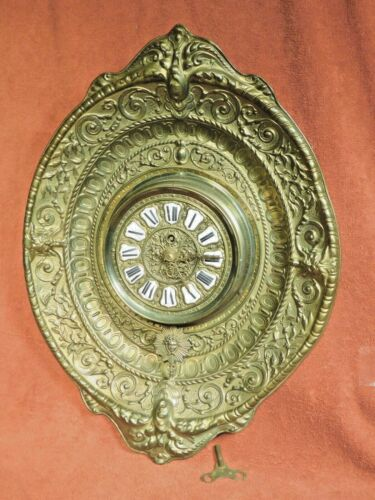 Antique French Baroque Repousse Clock Emboss Brass Wall Enamel Numeral Gargoyles