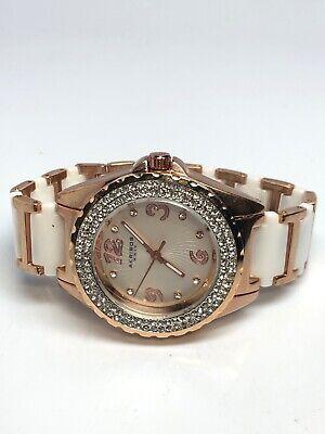 Akribos Ladies Stainless Steel Rose Gold Tone And Ceramic Quartz Watch