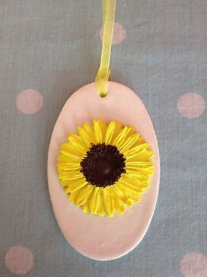 Beautiful Handmade Hanging Clay Sun Flower Gift Tag/decoration New
