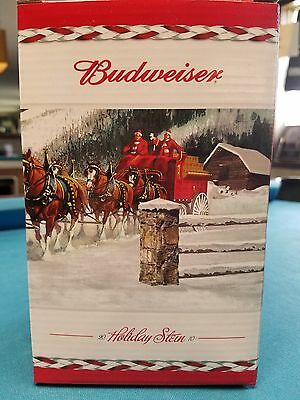 2010  Anheuser Busch  AB  Budweiser Holiday Christmas Beer Stein Clydesdales NIB