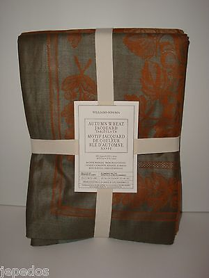 """Williams-Sonoma Autumn Wheat Jacquard Tablecloth 108"""" Thanksgiving Fall Floral on Lookza"""
