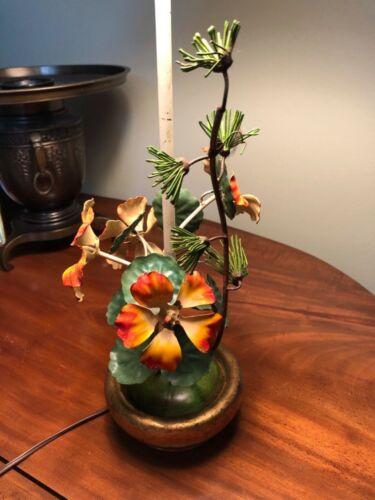Vintage Italian Tole Flowers Epergne Table Lamp Gilt Base Shabby Chic!
