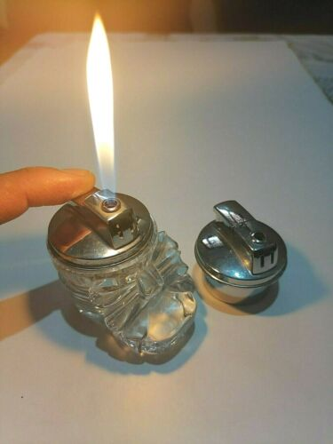 Vintage LIGHTER Crystal Cut Glass Table Top Chrome CIGARETTE MADE IN FRANCE...