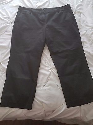 NEW YORK & COMPANY Women's 14 Black Cotton Polyester Stretch Crop Pants