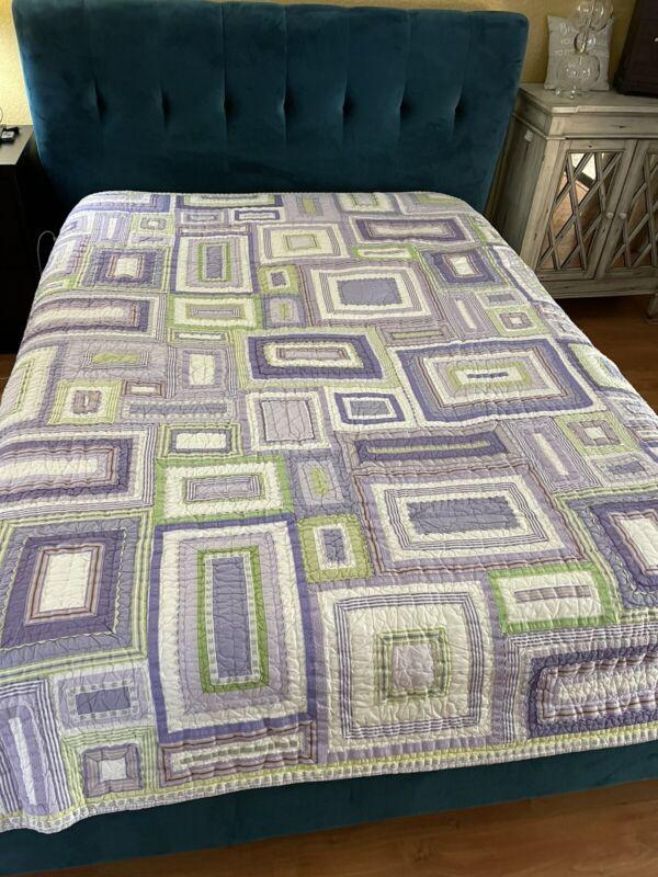 "Pottery Barn Kids Katie Patchwork Quilt Purple Green twin 88"""