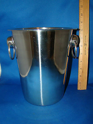 "Champagne Ice Bucket Stainless Steel with Rings 8 1/4"" Tall Brand Ware @24"