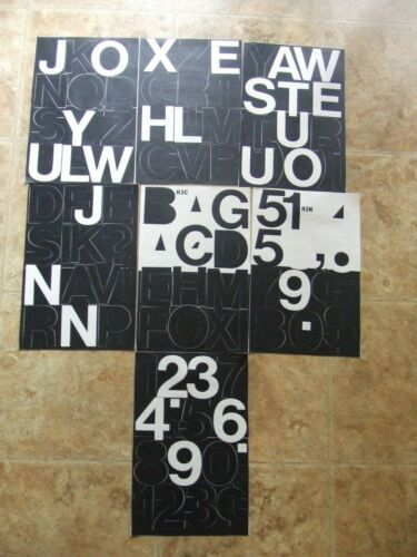 """7 SHEETS 3"""" TALL Stick-On VINYL LETTERS/NUMBERS-See Description for Missing Ones"""