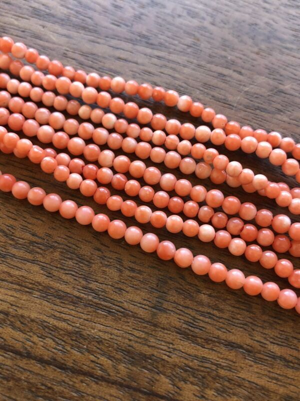 Vintage Old Stock 3mm Natural Angel Skin Coral Round Salmon Beads 14in Strand