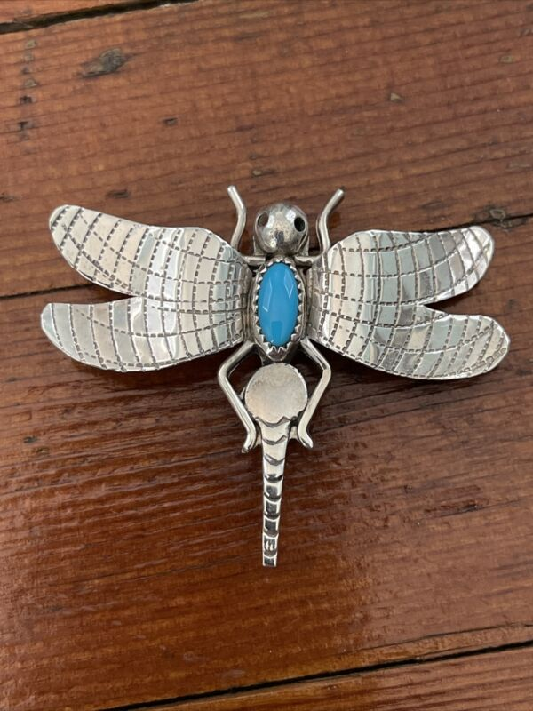 FRANK YAZZIE NATIVE AMERICAN DRAGONFLY PIN BROOCH TURQUOISE STERLING SILVER MARK