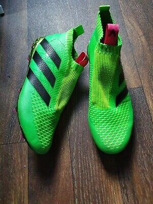 Green Adidas ACE 16+ Purecontrol Laceless FG Football Boots - UK Size 10.5