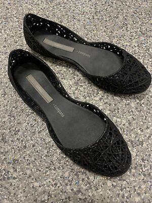 Melissa CAMPANA Black Glitter Zig Zag Flats Size EU 37/US 6