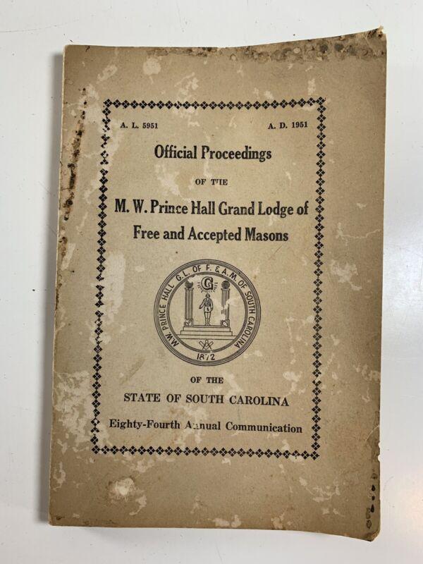 1951 Official Proceedings MW Prince Hall Grand Lodge Masons South Carolina Book
