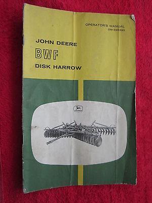 Vintage Original John Deere Bwf Disk Harrow Operators Manual