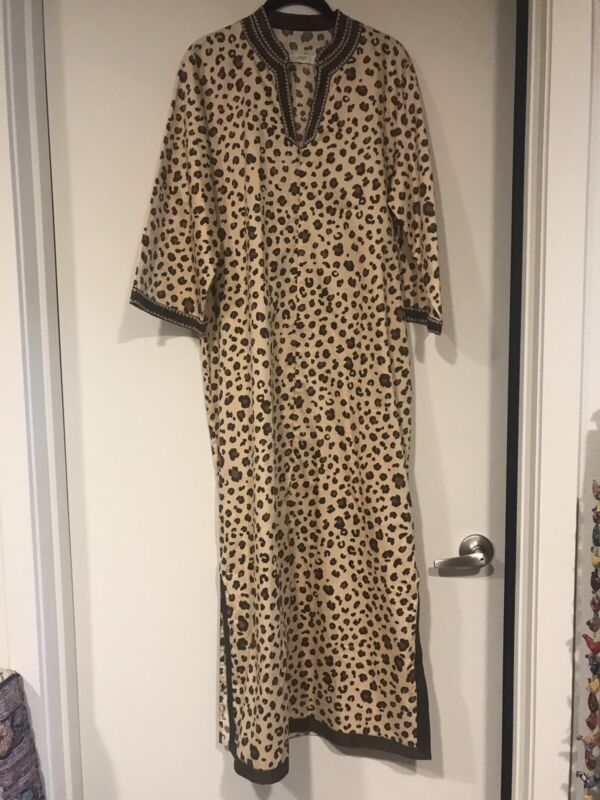 NWOT VTG I. Magnin Cheetah Print 1/2 Zip Maxi Kaftan Caftan Lounge Dress Size M