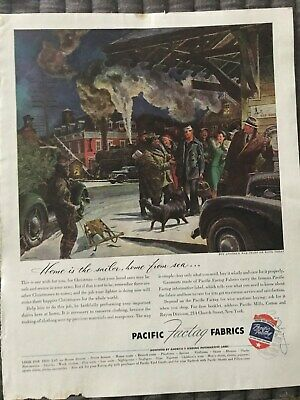 Pacific Fabrics~Home Is The Sailor, home From Sea~1944 Vintage Print AD A93