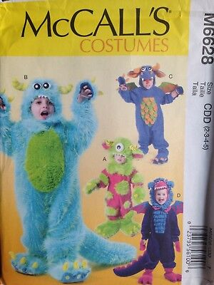 DRAGON & MONSTER Costume for Kids Size 2-5 - Uncut Sewing PATTERN McCall's 6628 - Monster Costumes For Kids