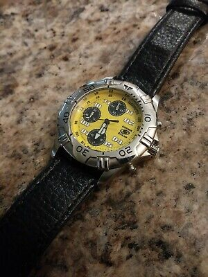 Vintage  Fossil Blue Chronograph Yellow Dial Quartz Mens Diver Watch SERVICED