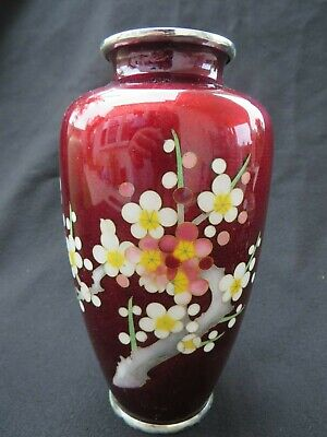 Vintage Japanese Cloisonne Pigeon Red Vase with Cherry Blossom 7
