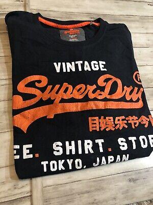 New Superdry Japan Tokyo Vintage Graphic T Shirt Black Mens XL XLarge N26