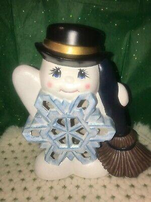 Vintage Snowman w Broom Light Up Hand Painted Ceramic Christmas Light