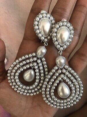 """3.75"""" Long Big Silver PeArl White Earrings Dangle Pageant CLIP ON Chandelier Clip White Earrings"""
