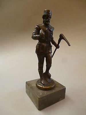 Bronze Figur Skulptur Bergmann Steiger Bergbau Bergarbeiter 21 cm hoch
