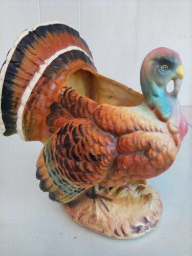 """Napcoware Large Vtg Ceramic Thanksgiving Turkey Planter Vase Holder 6.5"""" Japan"""