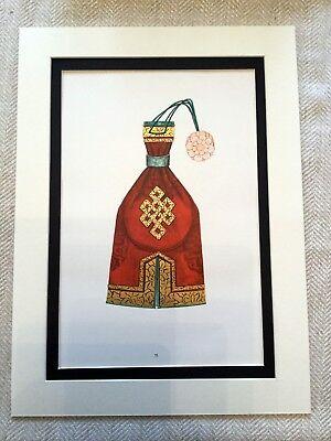 Vintage Kostüm Aufdruck Mongolische Stickerei Handtasche Tasche Kunst Ethnisch