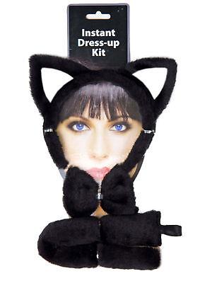Set Katze Ohren Schwanz Fliege schwarz Kostüm - Katzen Schwanz Kostüm
