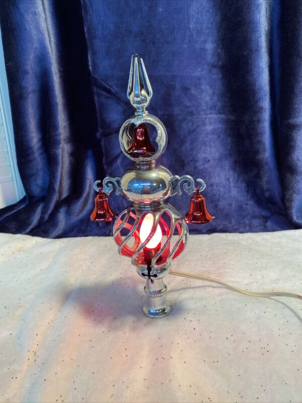 VINTAGE UNBREAKABLE PLASTIC CHRISTMAS Lighted TREE TOP With Bells