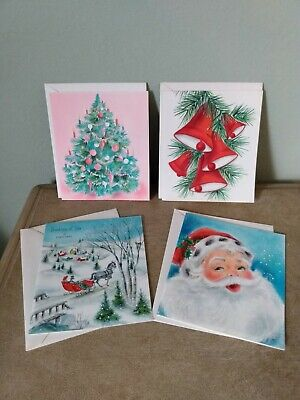 Vintage  50's Christmas Cards, Whimsical Past With Envelopes Unused ()