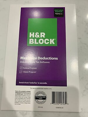 H&R Block Tax Software 2020 Deluxe Federal State w/Bonus 735290107039