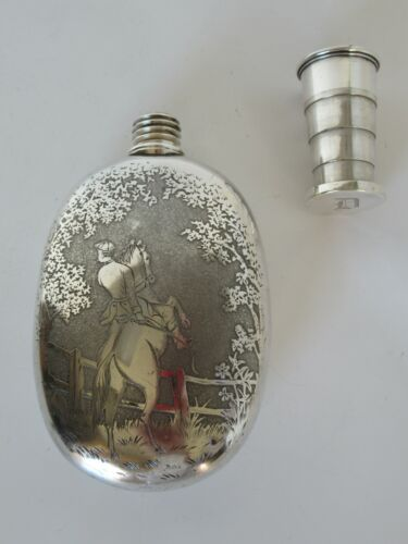 Antique English engraved silver plate flask with telescoping lid cup