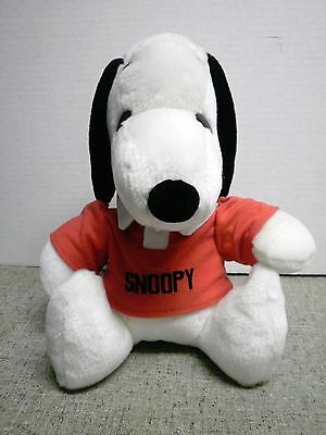 """12"""" Peanuts Snoopy Plush Wearing a Red Snoopy Shirt by Irwin Toy"""