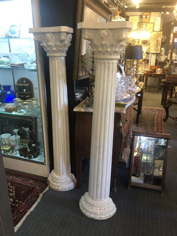 Pair of Hand Carved Wood Neo Classical Corinthian Vertical Half Columns