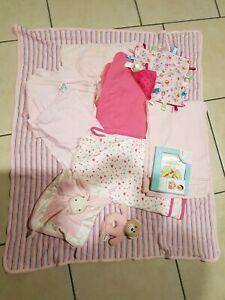 Girl baby swaddles/blankets, comforters, rattle,