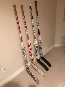 Goalie sticks, neck guard, throats protector, cage and cans