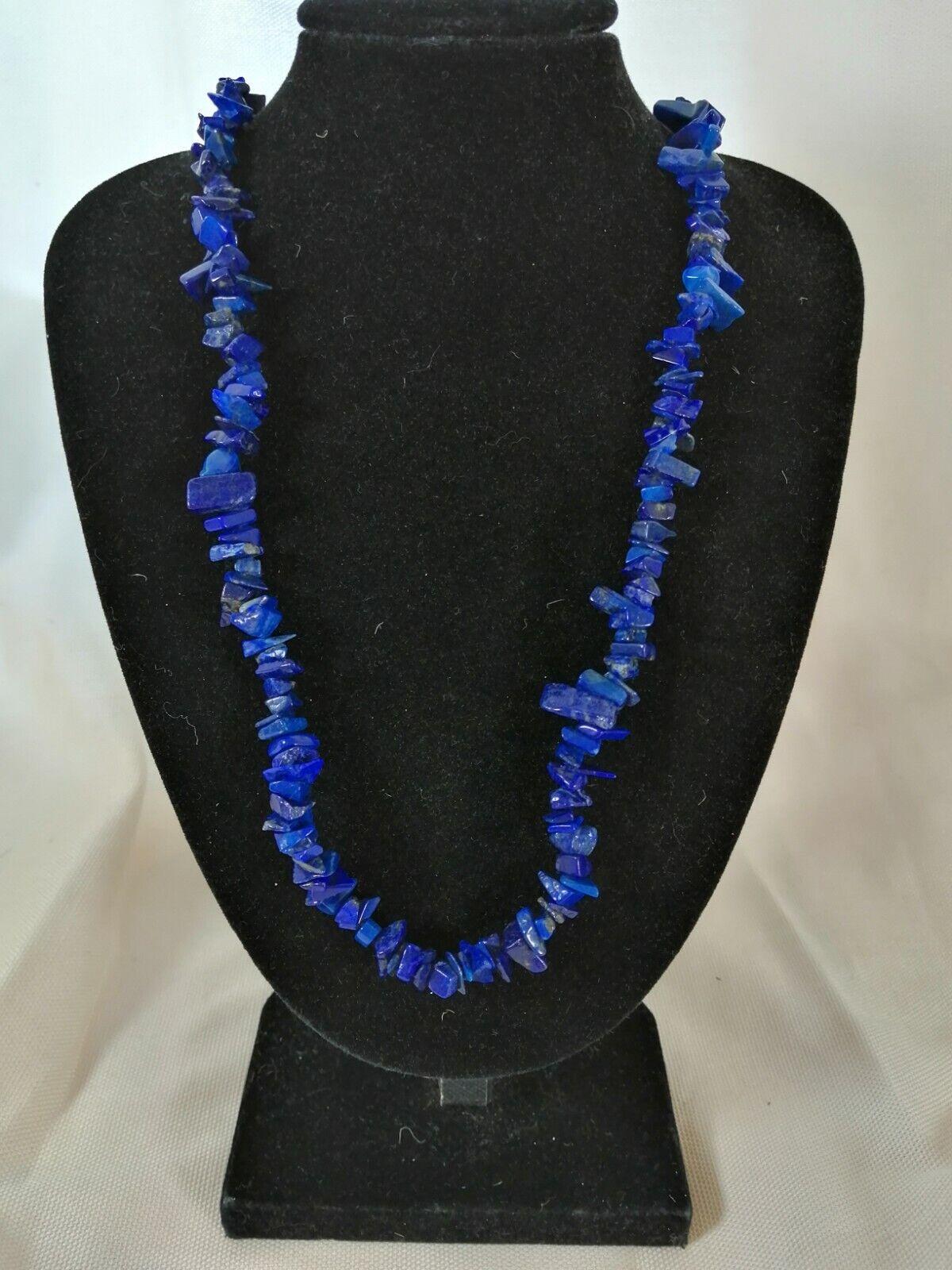 "Lapis Lazuli Chip Necklace 16"" to 34"", Long Necklace, Short Necklace"