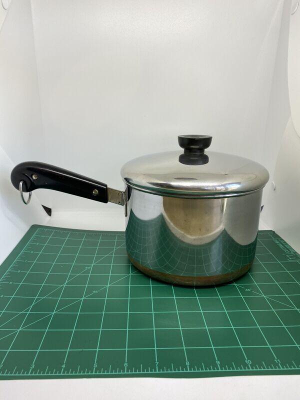 Vintage Copper Clad Revere Ware 3qt Pot With Lid And Hanger 2363973  1801