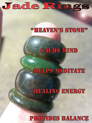 Genuine Green Jade / Jadeite Carved Ring Genuine Gemstone Wisdom Luck * 5 - 7 *