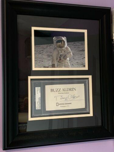 BUZZ ALDRIN SIGNED 14X16 PHOTO AUTOGRAPH CUT SLAB APOLLO 11 NASA PSA COA