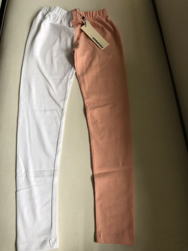Popupshop Two Tone Leggings Light Rose & Off White Organic Size 10 Years NWT