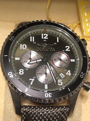 Invicta 43mm Speedway Quartz Chrono Green Nylon over Leather Strap Watch  31284