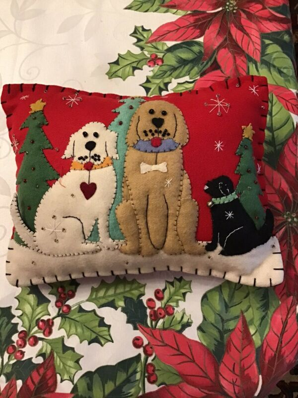 Vintage Christmas Pillow Felt & Beads Dogs & Christmas Trees Pillow Trapunto